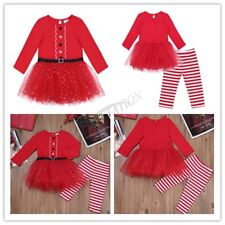 Newborn Baby Girls Christmas Santa Claus Tulle Dress+Pants Outfits Party Costume