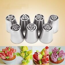 7Pcs Flower Piping Cake Cupcake Icing Nozzles Tips Rose Tulip Blossom Tools TTT1