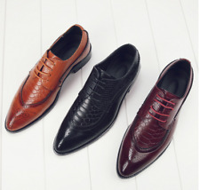 British Style Men's Fashion Pointed-toe Oxfords Brogue Dress Leather Shoes