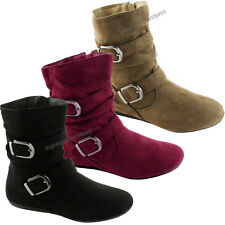 Womens New Ankle Flat Boots Fashion Faux Suede Booties Stylish Shoes Size Boot