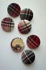 Fabric Covered 25 mm Shank Buttons with Black, Red and White Plaid.