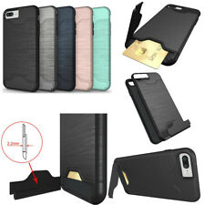 Plating Brushed Slim Hybrid Hard Stand Card Slot Case Cover For iPhone 7 8 Plus