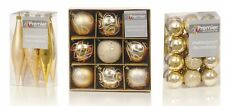 Christmas Tree Decorations Xmas Tree Baubles Glitter Gloss & Matt Champagne Gold