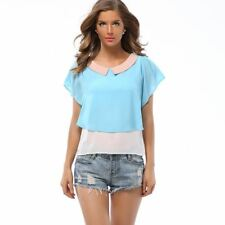 Women Summer Hit Color Doll Collar Loose Casual Chiffon Shirt Tops Blouse