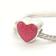 Authentic S925 Sterling Silver Latin Love Heart Transparent Cerise Enamel Charm