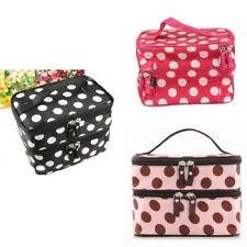 Double Layer Cosmetic Travel Toiletry Mirror Purse Make-up Bag