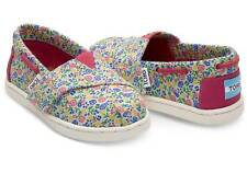 NWT NEW LITTLE GIRLS SZ 7,8 TOMS BIMINI FUSCHIA MULTI FLORAL SHOES