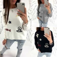 Women Long Sleeve Round Neck Embroidery Casual Pullover Hoodie Blouse Shirt Tops