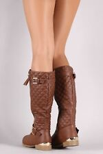 Vegan Leather Buckled Quilted Zipper Trim Riding Knee High Boots