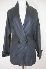 Vintage Rubina Leather Jacket Coat muted brown gray black dolman sleeve S/M