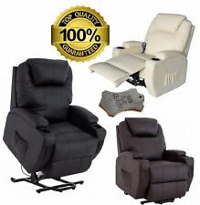 LEATHER RISER RECLINER ARMCHAIR DUAL MOTOR HEAT AND MASSAGE MOBILITY LIFT CHAIR