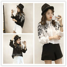 Women's Embroidered Mock Neck Long Sleeve Button Down Shirt Top Blouse