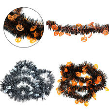 Halloween Spooky Party Supplies 1x Black Tinsel Garland Pumpkin Decoration 2M