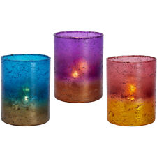 Colourful Lustre Glass Tea Light Holders Festive Shabby Christmas Candle Votives