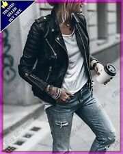Womens Genuine Lambskin Motorcycle Real Leather Jacket Slim fit Biker Jacket #51