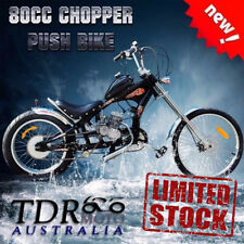 Black / Red Vintage Chopper Low Rider Dragster Bicycle With 2 Stroke 80cc Engine