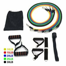 11P Resistance Band Set Yoga Pilates Abs Exercise Fitness Tube Workout Bands RE