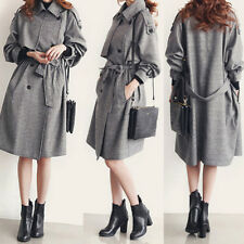 Womens Double Breast Slim Long Jacket Ladies French Belted Trench Waterfall Coat