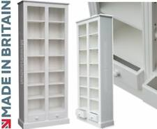 Large White Painted Bookcase, 200cm Tall Display Shelving Unit with Drawers