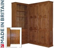 Solid Pine Corner Unit Cupboard, Large Bookcase Display Unit with Drawers