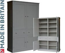 Solid Pine Cupboard, Grey Painted Linen, Larder, Pantry, Kitchen Storage Cabinet
