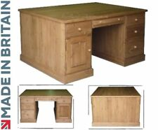 Solid Pine Partners Desk, Twin Pedestal Executive Writing Desk - Filing Drawers