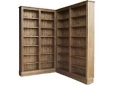 "Solid Pine Corner Bookcase,6ft 8"" Tall Waxed L Shaped Display Shelving Bookshelf"