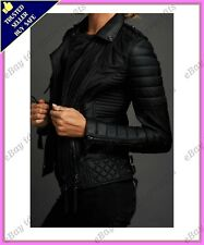 Womens Genuine Lambskin Motorcycle Real Leather Jacket Slim fit Biker Jacket #58
