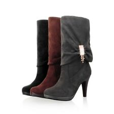 New Fashion Womens Mid Calf Boots Faux Suede Round Toe High Heels Plus Size