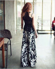 Women Sexy Casual High Waist Flare Wide Leg Long Pants Palazzo Cotton Trousers