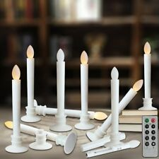 Flameless LED Candle Light Windows Taper Candles with Remote Timers White Base