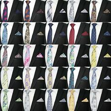 MEN'S PAISLEY FLORAL TIE & MATCHING POCKET SQUARE HANKY HANDKERCHIEF WEDDING SET