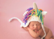 Hand Crochet Knitted Baby Unicorn Hat Chunky Photo Prop Girl Newborn-12M Rainbow