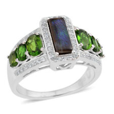 Canadian Ammolite, Russian Diopside, White Zircon Sterling Silver Ring (Size 9.0