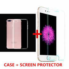 Tempered Glass Screen Protector & Clear Soft Silicone TPU Case Cover for iPhones