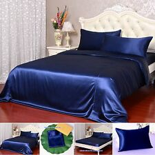 30Momme 100% Pure Silk Duvet Cover Sheets Pillow Cases Seamed Navy Blue