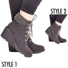 Ladies Womens Wedge Ankle Boot Winter Warm Lace up Casual Fashion Shoes Size 3-8