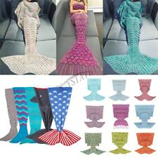 Super Soft Crochet Mermaid Fish Tail Blanket Sofa Sleeping Bag Kid Adult Blanket