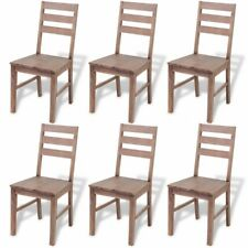 Wooden Dining Room Chairs Rustic Kitchen Seats Restaurant Cafe Bistro Brown 6pcs