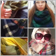 Women Square Multifunction Plaid Blanket Scarf Checked Wrap Shawl Winter FT 01