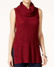Sleeveless Cowl-Neck Tunic Sweater ULTRA FLIRT Juniors Knitted Burgundy Long Top