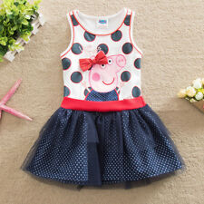 Lovely Kids Peppa Pig Short Sleeved Princess Tutu Tunic Party dress Clothes 2-6Y