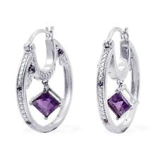 Amethyst / Citrine , Created Sapphire Earrings in Platinum Bond Brass 2.34 Cts.