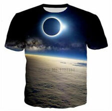 New Fashion Womens/Mens Space Eclipse 3D Print Casual T-Shirt Short Sleeve Tops