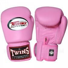 Twins Leather Boxing Muay MMA Gloves Thai Punch BGVL-3 Velcro Pink