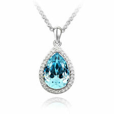 Women Fashion Charm Jewelry Chain Pendants Austrian Crystal Necklace -eyedrop