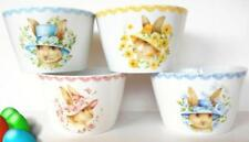 4 222 Fifth Easter Bunny Bowls Rabbits in Vintage Hats with Floral Set New