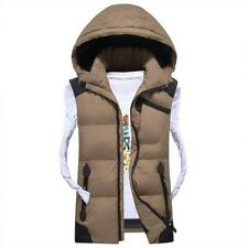 Mens Sleeveless Vest Jacket Winter Duck Down Hooded Fashion Casual Waistcoat Fit