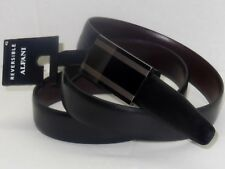 Alfani Mens Black Brown Swivel Reversible Leather Belt Plaque Buckle 32 38 40 42