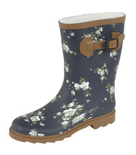 Ladies Blossom Floral Print Navy Wellies Calf High Rubber Wellington Boots